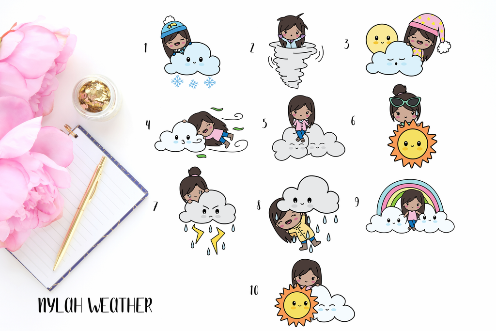 Nylah Weather Girl Planner Stickers