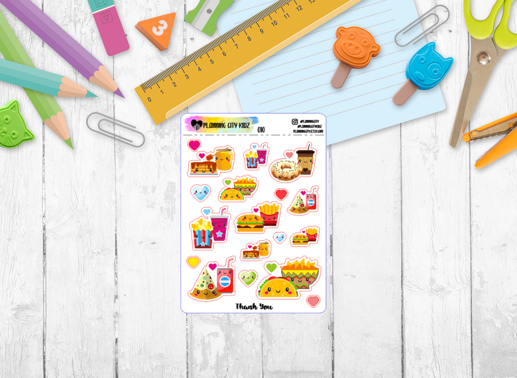Fast Food Pairs Kidz Planner Stickers