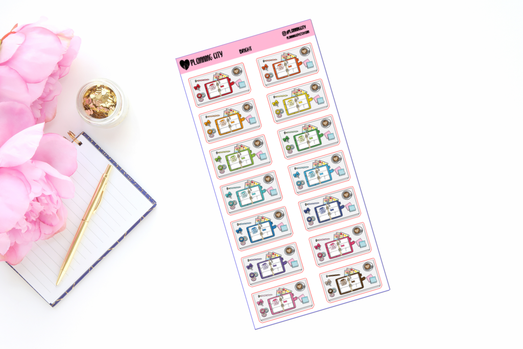 Planner Desk Flatlay Functional Stickers