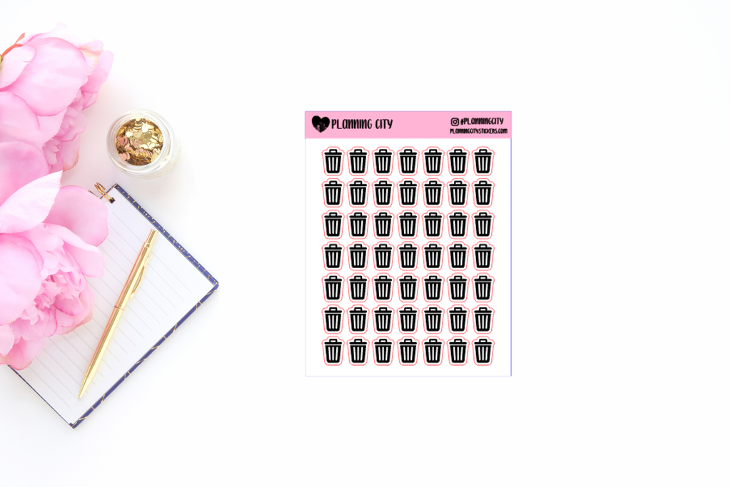 Trash Can Foiled Icon Planner Stickers