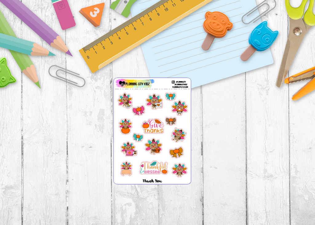 Thankful Turkey Kidz Planner Stickers