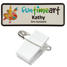 Load image into Gallery viewer, Name Badge 25 x 76 Pin/Clip Back - Clever Fridge Magnets