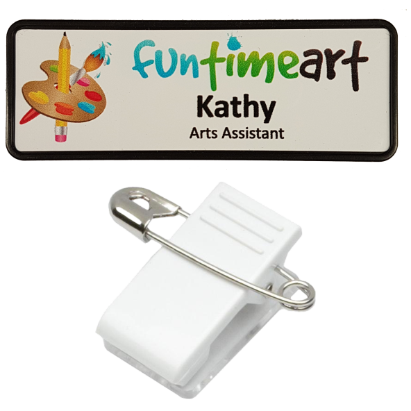 Name Badge 25 x 76 Pin/Clip Back - Clever Fridge Magnets