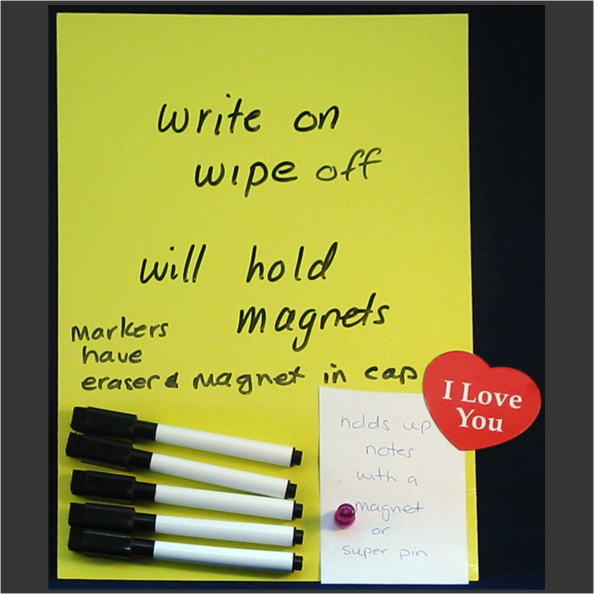 Sticky Whiteboard Sheet & 5 Markers YELLOW - Clever Fridge Magnets
