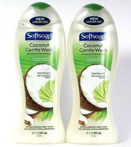 2 Ct Softsoap 20 Oz Coconut Oil & Lemongrass Gentle Hypoallergenic Body Wash