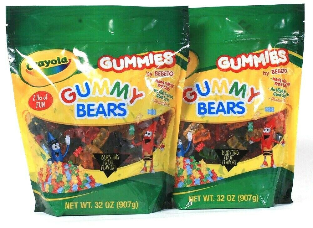 2 Bags Crayola 32 Oz Gummies Made With Real Fruit Juice Gummy Bears BB 9/03/21