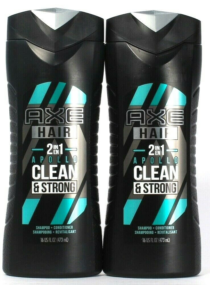 2 Bottles Axe 16 Oz Hair 2 In 1 Apollo Clean & Strong Shampoo & Conditioner