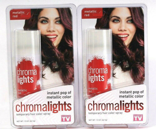2 Count QB Labs 1.5 Oz Chromalights Metallic Red Temporary Hair Color Spray