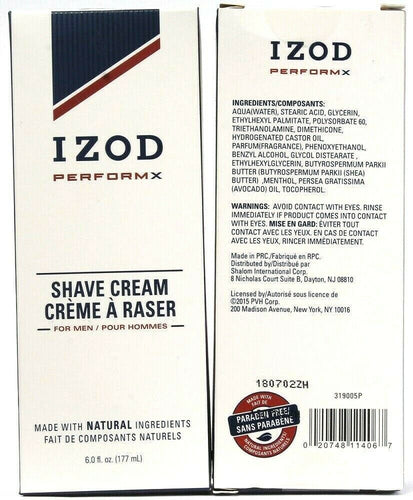 2 Count Izod 6 Oz PerformX Natural Ingredients Shave Cream For Men Paraben Free
