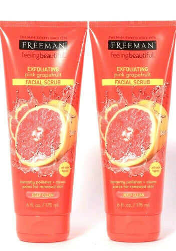 2 Count Freeman 6 Oz Exfoliating Pink Grapefruit Deep Clean Facial Scrub