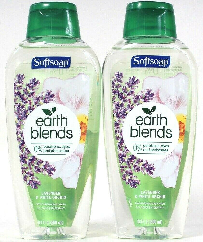 2 Softsoap 16.9 Oz Earth Blends Lavender & White Orchid Moisturizing Body Wash