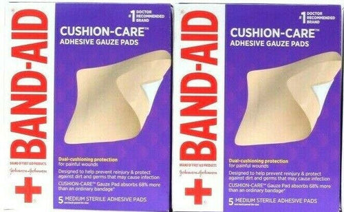 2 Boxes Band-Aid Dual Cushion Care 5 Ct Medium Adhesive Pads For Painful Wounds