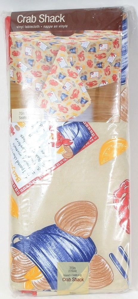Elrene Home Fashions Crab Shack Vinyl Tablecloth 70in Round Seats 4 to 6