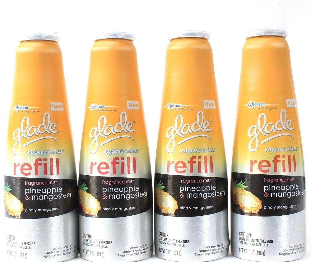 4 Glade Expressions Pineapple & Mangosteen 7 Oz Fragrance Mist Refill For Holder