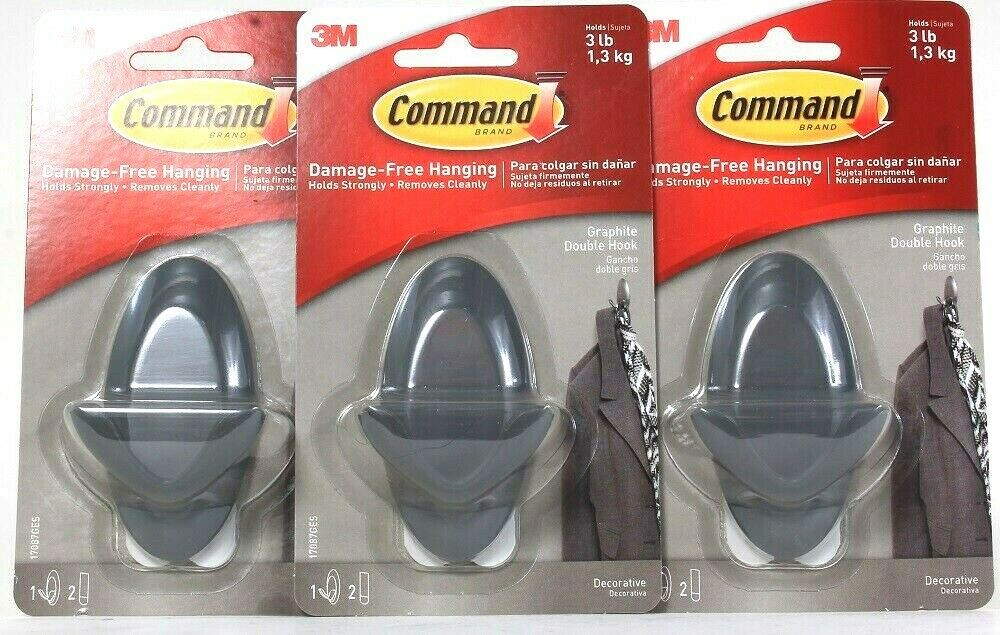 3 Count Command Damage Free Hanging Holds 3 Lb Decorative Graphite Double Hook
