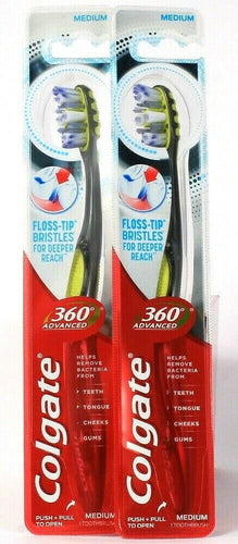 2 Count Colgate 360 Advanced Medium Floss Tip Bristles Deeper Reach Toothbrush