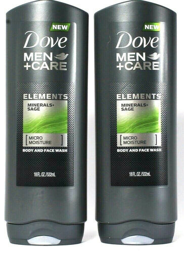 2 Dove 18 Oz Men Care Elements Minerals & Sage Micro Moisture Body & Face Wash