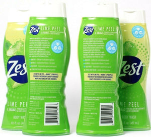 4 Bottles Zest 16.5 Oz Lime Peel & Ananas Antioxidants Bioflavonoids Body Wash