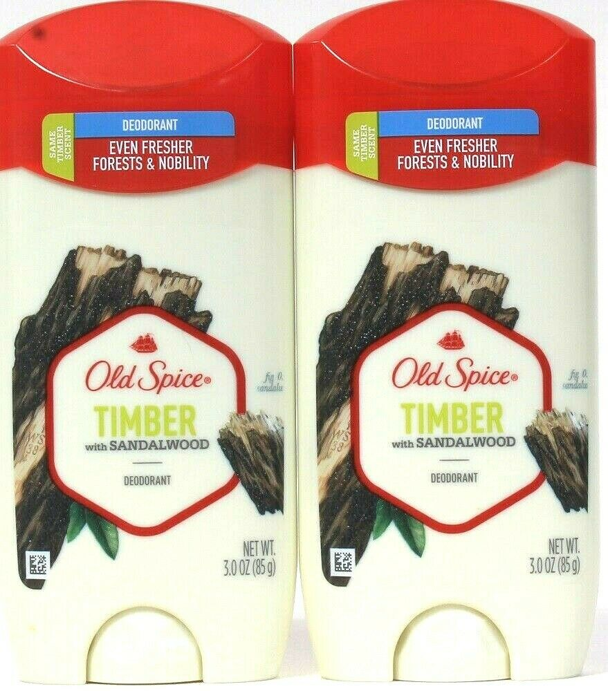 2 Old Spice 3 Oz Timber With Sandalwood Even Fresher Forest & Nobility Deodorant
