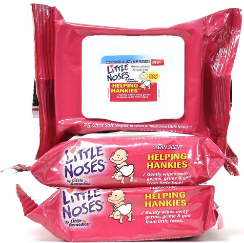 3 Pack Little Noses Helping Hankies Clean Scent 75 Ultra Soft Gentle Wipes 6X8in