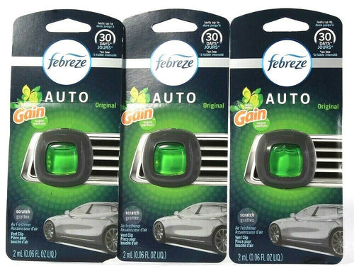 3 Count Febreze 0.06 Oz Auto Original With Gain Scent Air Freshener