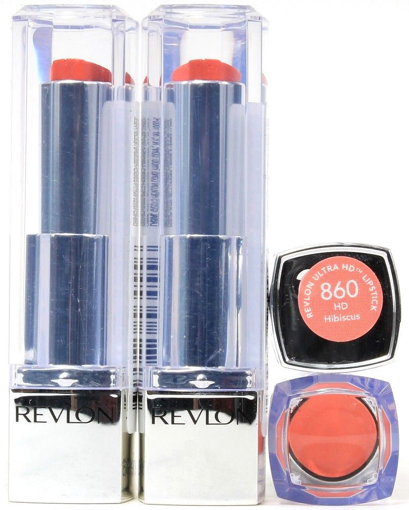 4 Sticks Revlon Ultra HD Lipstick 860 Hibiscus .1 oz Each