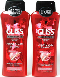 2 Bottles Schwarzkopf 13.6 Oz Gliss Color Guard With Liquid Keratin Shampoo