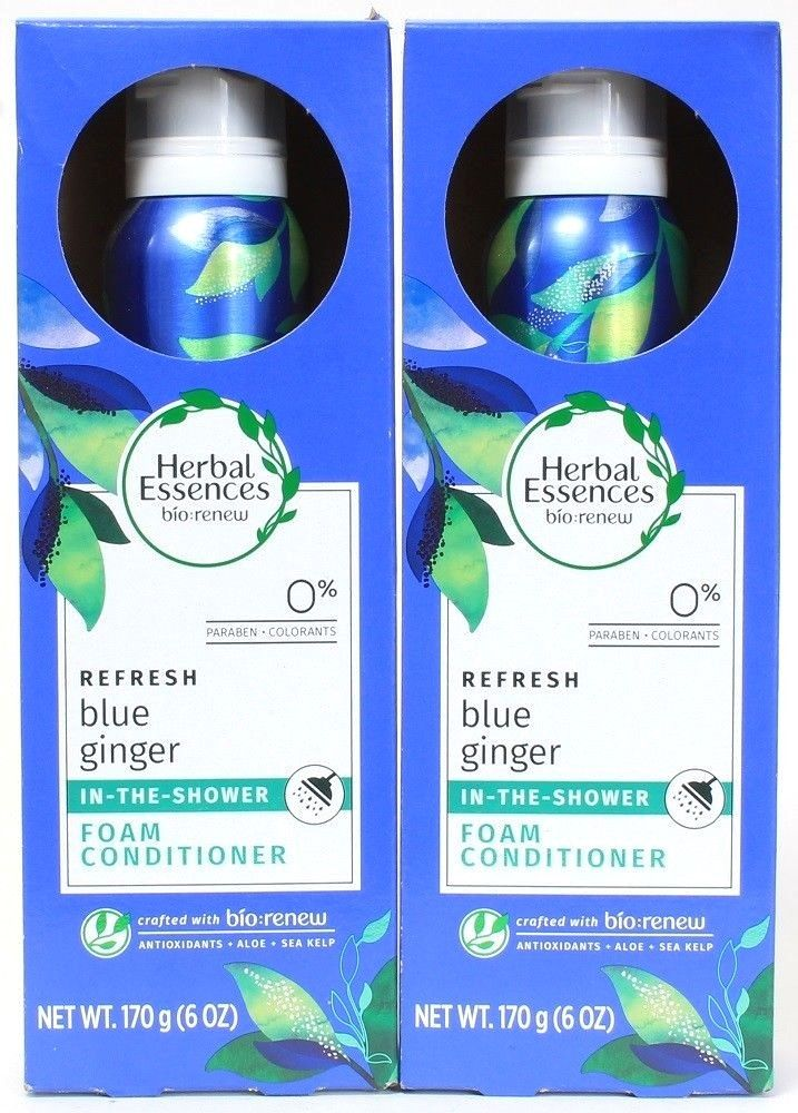 2 Herbal Essences Bio Renew Refresh Blue Ginger In Shower Foam Conditioner 6 oz