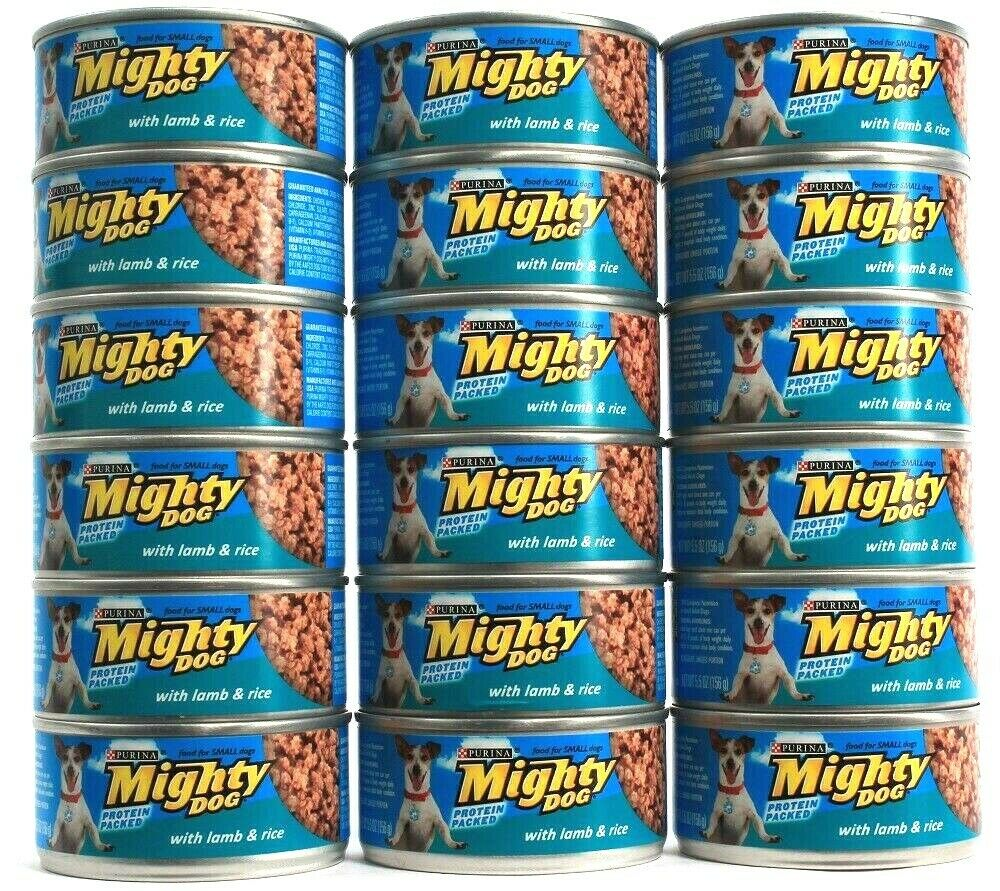 18 Cans Purina 5.5 Oz Mighty Dog Protein Packed With Lamb & Rice Wet Dog Food