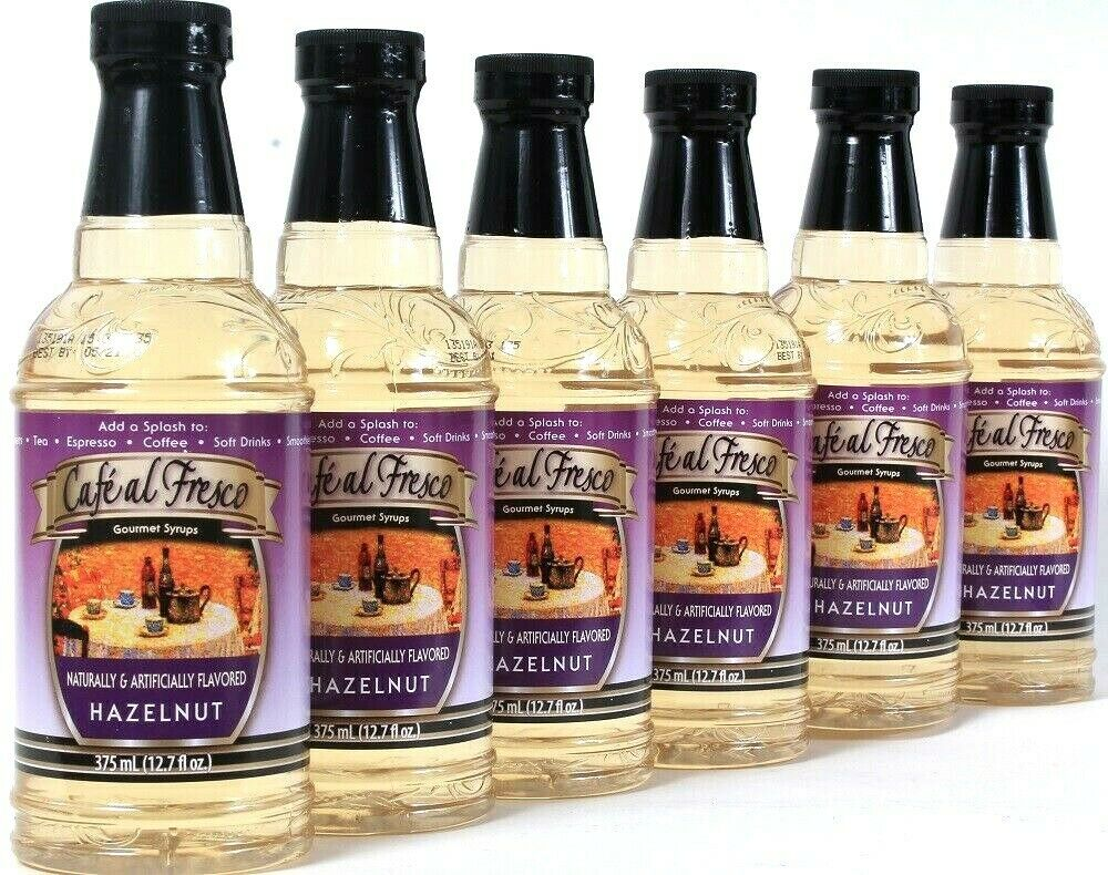 6 Ct Cafe Al Fresco 12.7 Oz Hazelnut Gourmet Syrup Coffee Espresso Soft Drinks