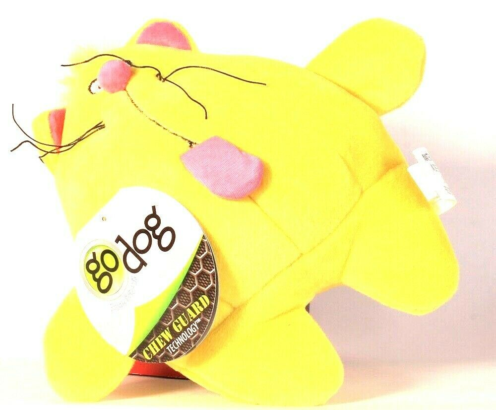 1 Ct Go Dog Chew Guard Technology Fat Cat Yellow & Pink Dog Toy Tough For Fun