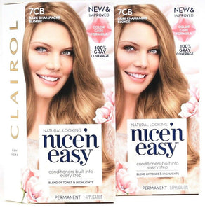 2 Clairol New & Improved Nice'N Easy 7CB Dark Champagne Blonde Permanent Dyes