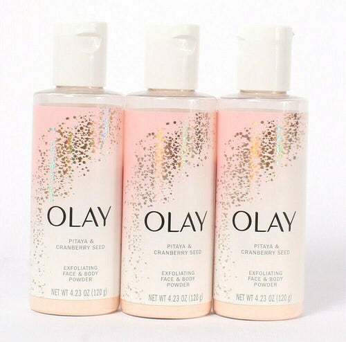 3 Count Olay 4.23 Oz Pitaya & Cranberry Seed Exfoliating Face & Body Powder