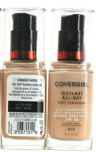 2 Covergirl Outlast 3 In 1 Foundation Broad Spectrum SPF20 Classic Ivory 810 1oz