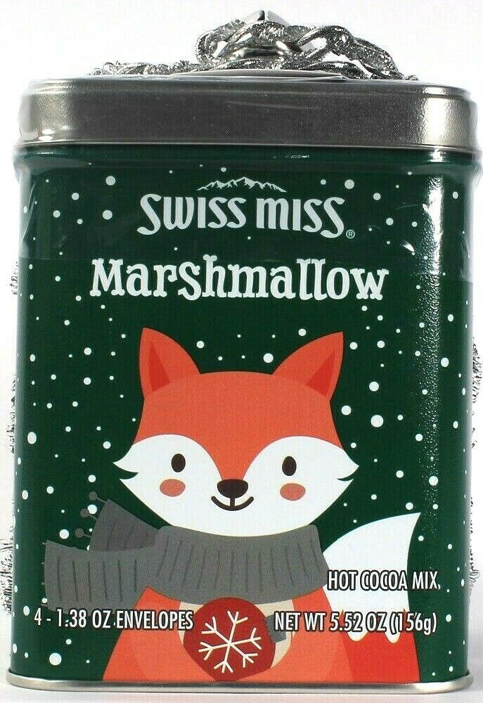 1 Swiss Miss Marshmallow Hot Cocoa Mix Christmas Bell With Ribbon Gift Tin5.52oz