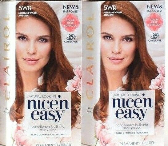 2 Clairol Nice n Easy Conditioners Built Into Every Step 5WR Medium Warm Auburn