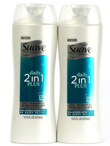 2 Suave Professionals Daily 2in1 Plus Shampoo Conditioner Balance Moisture12.6oz