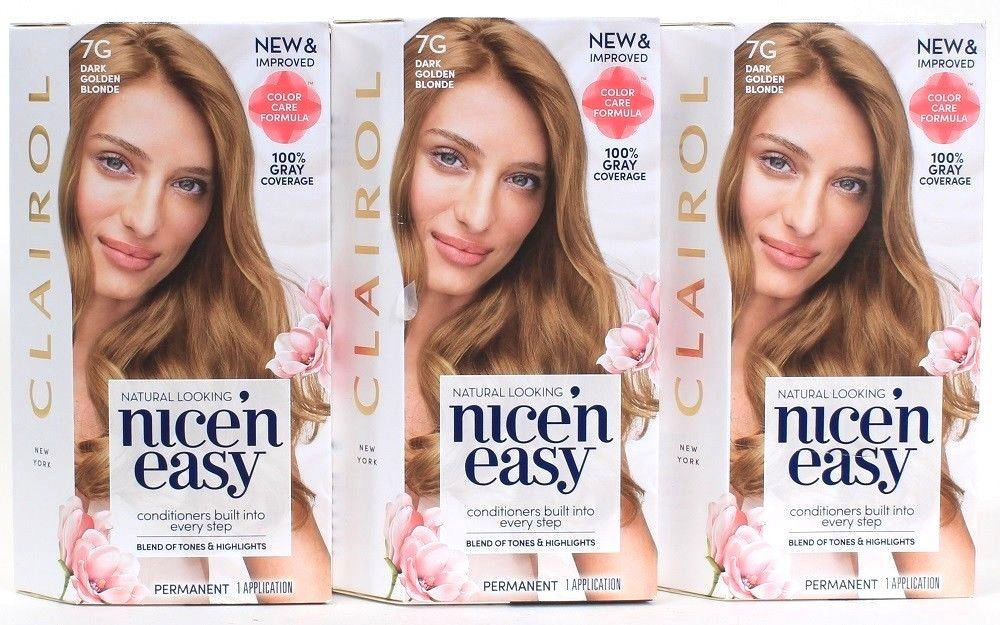 3 Clairol Natural Looking Nice n Easy 7G Dark Golden Blonde Color Care Permanent