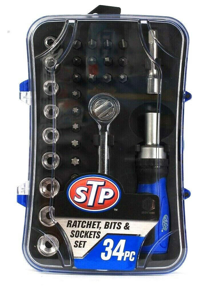 1 STP Ratchet Bits and Sockets Set Heavy Duty 34PC 1/4 in Drive Incl. Extension