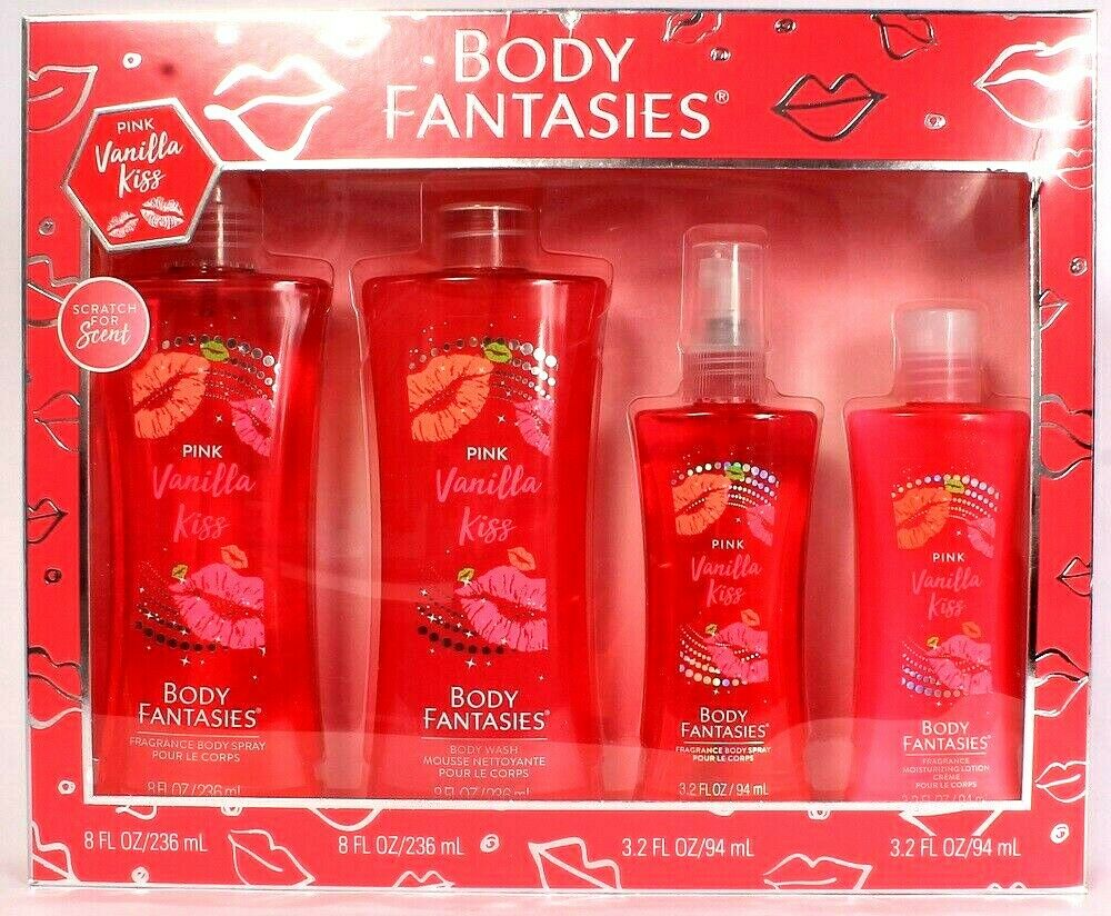 1 Body Fantasies Pink Vanilla Kiss 4 Piece Gift Set Made in USA Soft Floral Frag