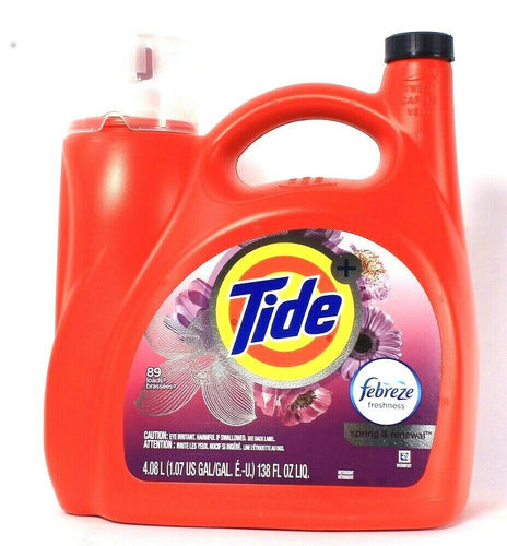 1 Bottle Tide 138 Oz Febreze Freshness Spring & Renewal 89 Lds Liquid Detergent