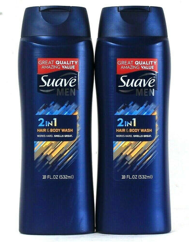 2 Bottles Suave Men 18 Oz 2 In 1 Hair & Body Wash Works Hard Smells Great