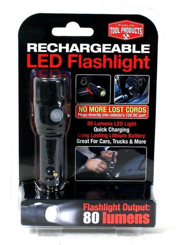1 Count FineLife Tool Products Rechargeable Long Last 80 Lumens LED Flashlight