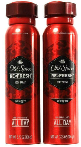 2 Count Old Spice Re Fresh Swagger Body Spray 1 Spritz Lasts All Day 3.75 fl oz