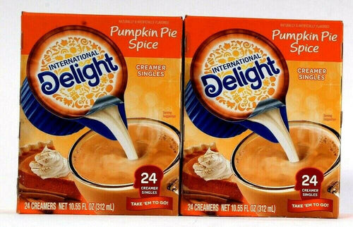 2 Boxes International Delight Pumpkin Pie Spice 24 Ct Creamer Singles To Go