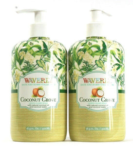 2 Bottles Waverly Bath & Home Collection 16.9 Oz Coconut Grove Liquid Hand Soap