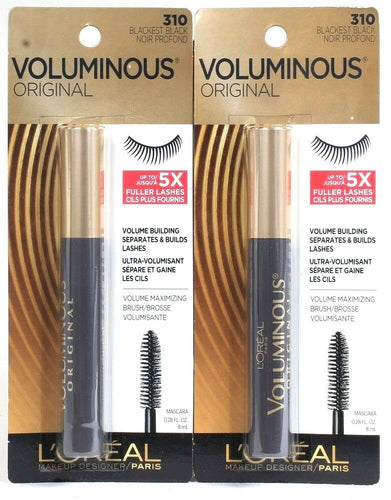 2 L'Oreal Voluminous Original 310 Blackest Black 5X Fuller Lashes Build Mascara