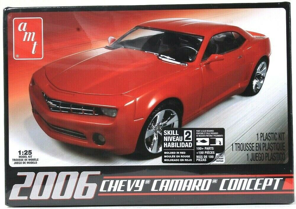 AMT 2006 Red Chevy Camaro Concept 1:25 Skill Level 2 100 Parts Plastic Model Kit