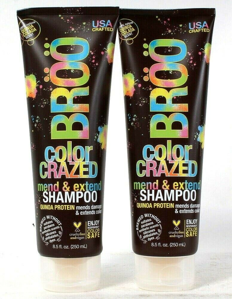 2 Count Broo 8.5 Oz Color Crazed Mend & Extend Quinoa Protein Mending Shampoo