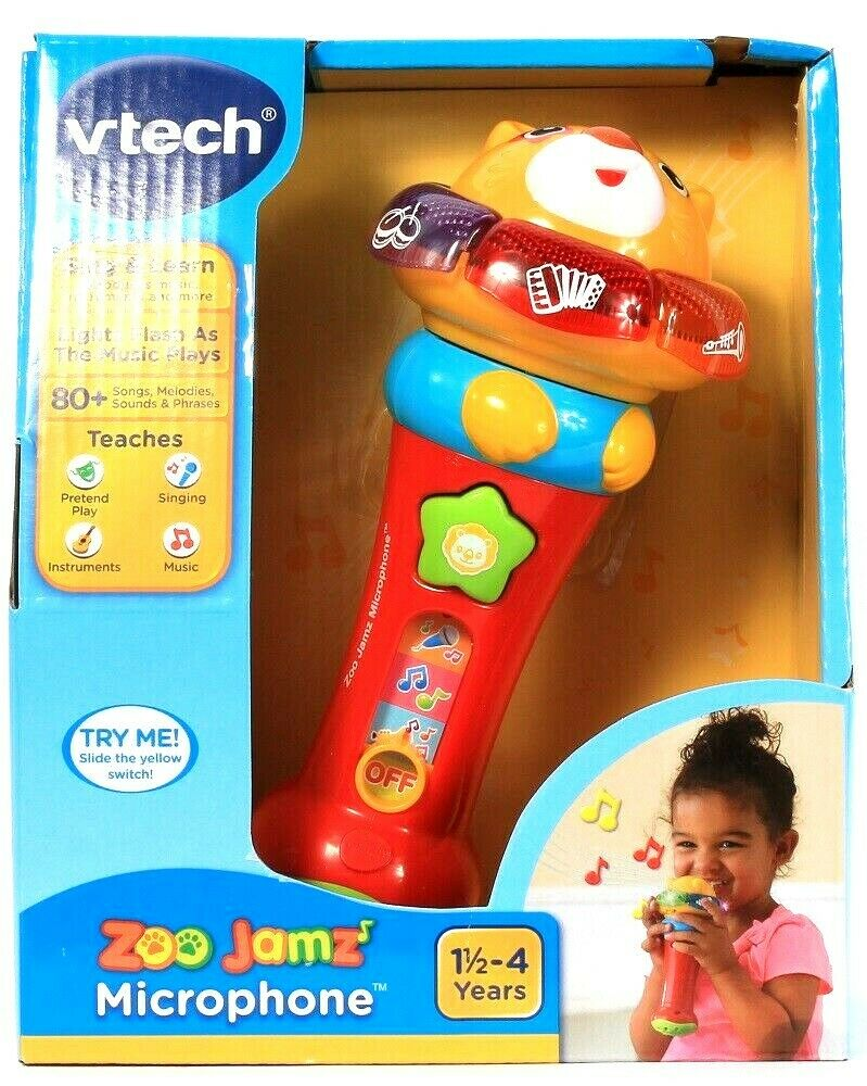 1 Count Vtech Zoo Jams Sing & Learn Microphone 80 Plus Songs Lights & Music